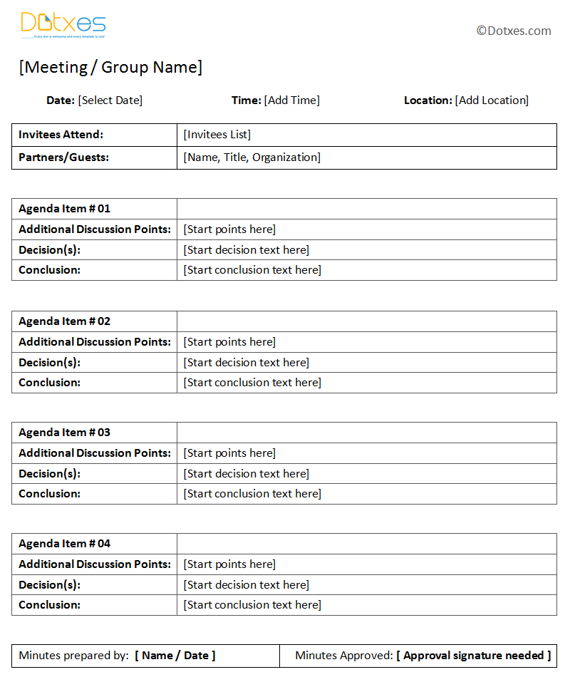 General Meeting Minutes Template With Table Format (1.1)
