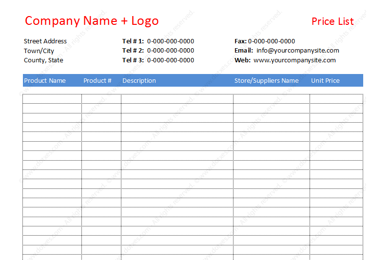 Price List Template For Cost Comparison From Diff Suppliers