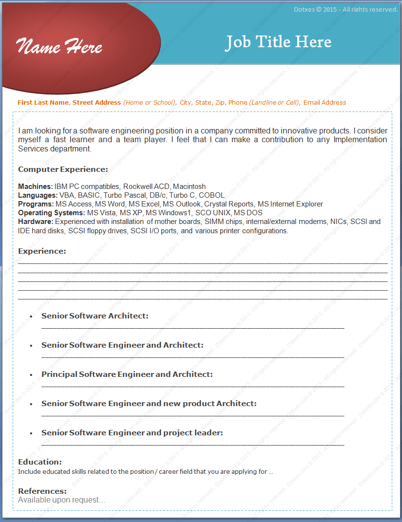 Experienced Software Engineers Resume Format
