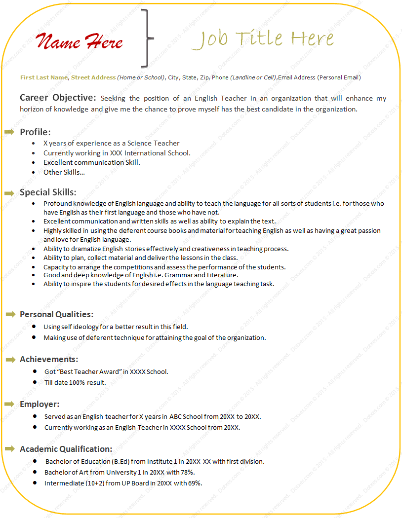 sample resume format for experienced teacher