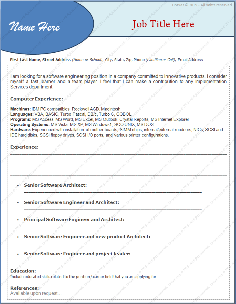 experienced resume format for engineers