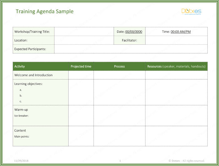 Training Agenda Template Page 01