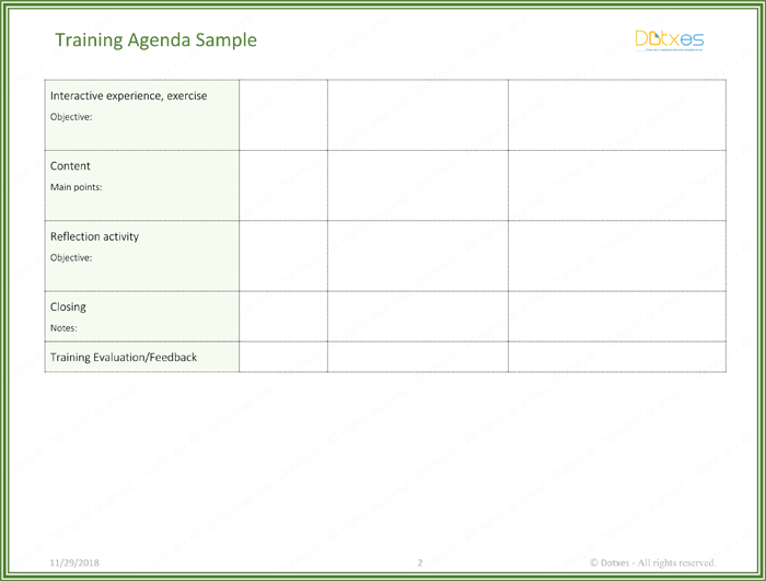 Training Agenda Template Page 02