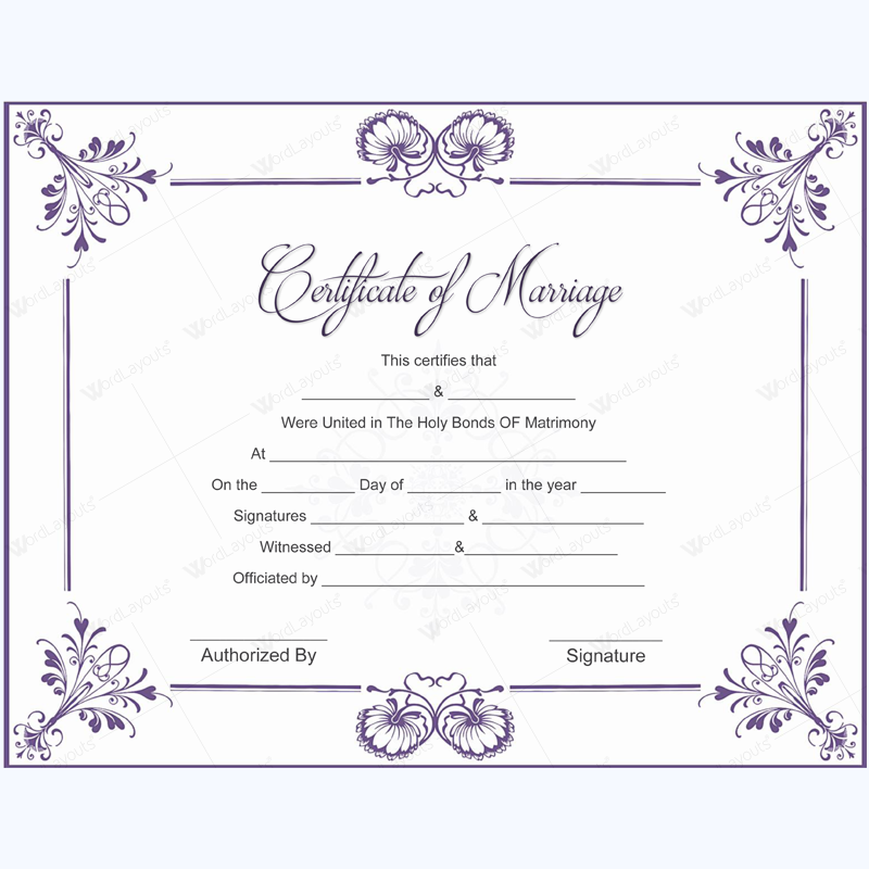 This is a photo of Dashing Marriage Certificate Template Word