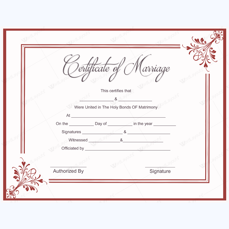 Blank Marriage Certificate Designs