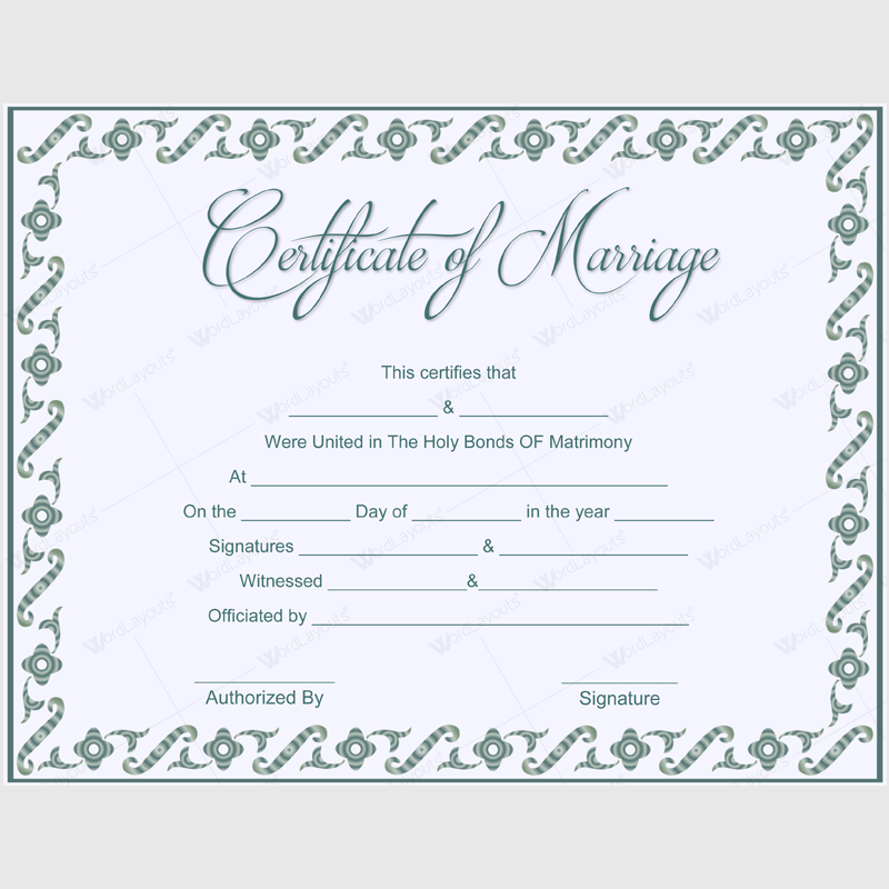 Printable wedding certificate