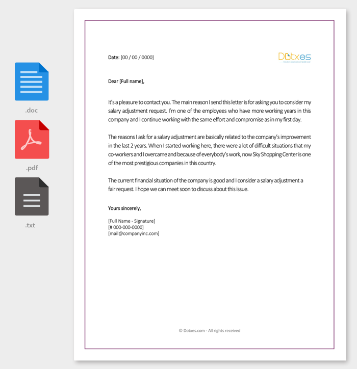 Salary Adjustment Letter Sample