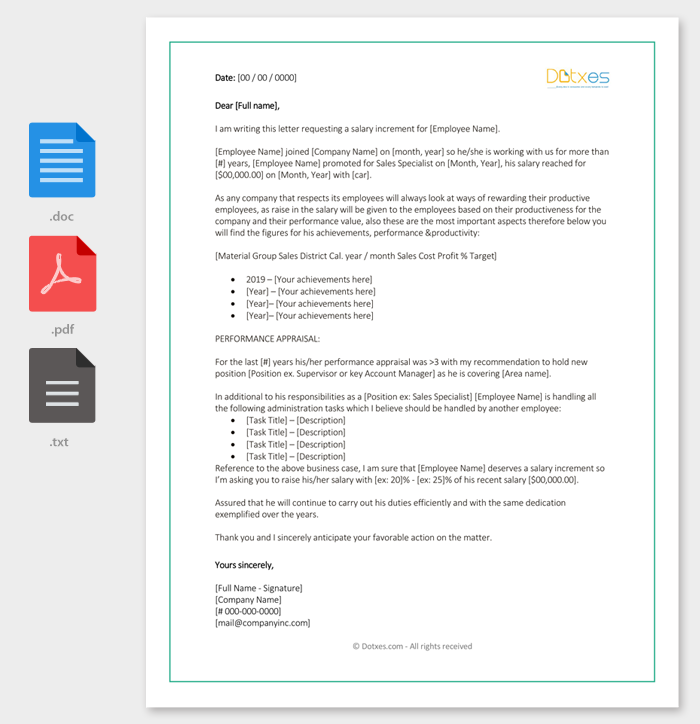 Salary Increase Recommendation Letter Template