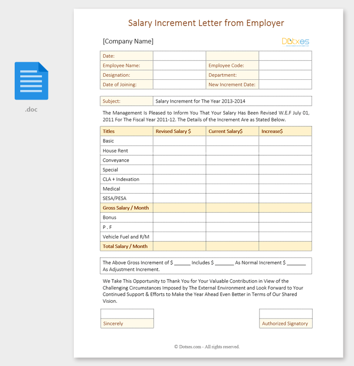 Salary Increment Letter from Employer