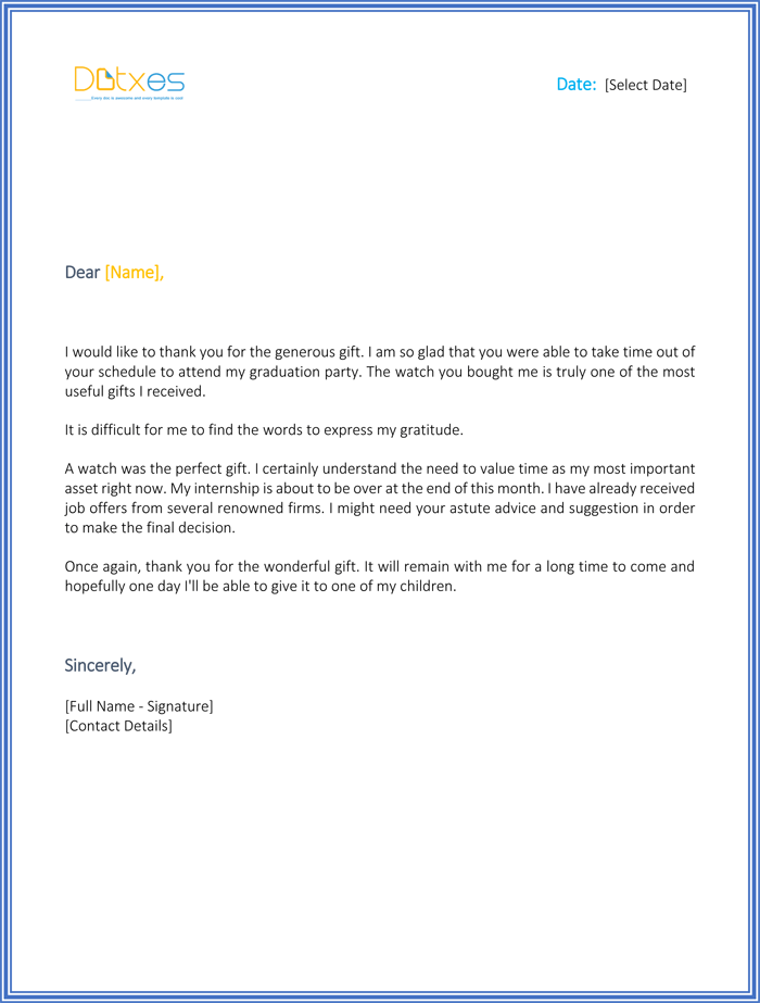 Thank You Letter for Graduation Gift