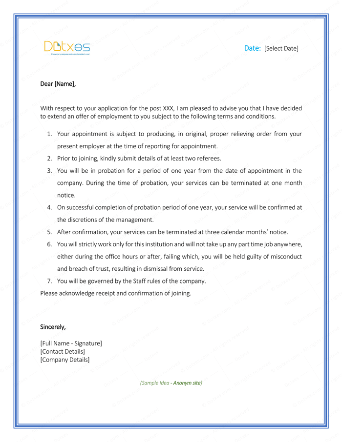 Appointment Letter Sample for Employee