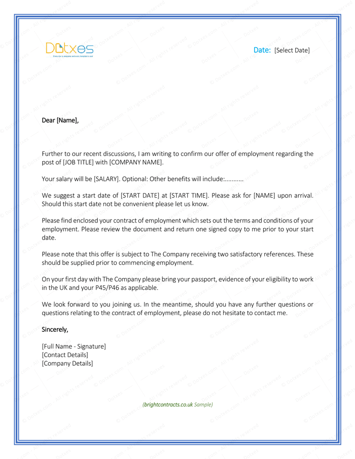 Job Offer Letter – Download Free Formats and Sample for Word