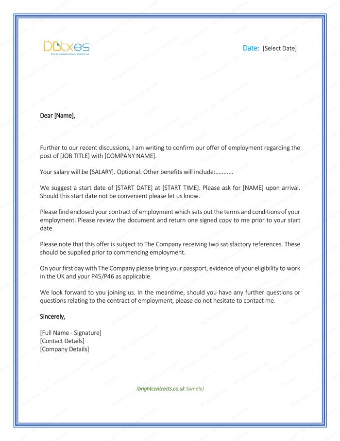 Job Offer Letter Template for Uk