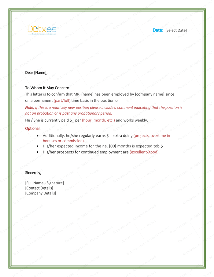 Employment Verification Letter 4 Printable Formats