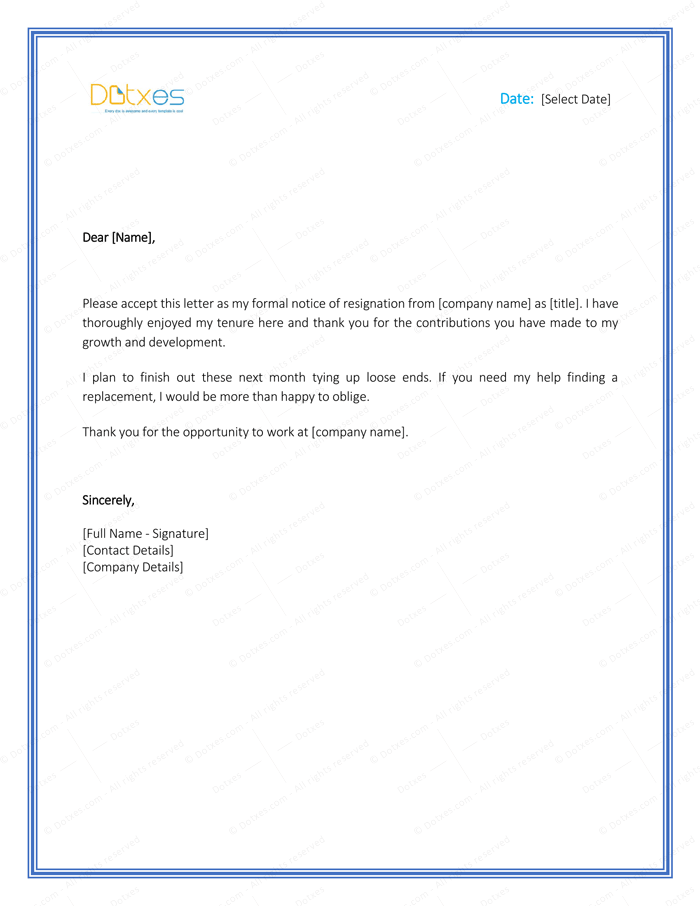 Resignation Letter Template 1 Month Notice