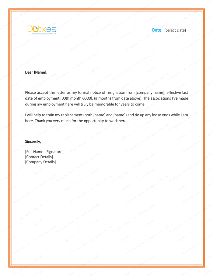 Resignation Letter Template for Word