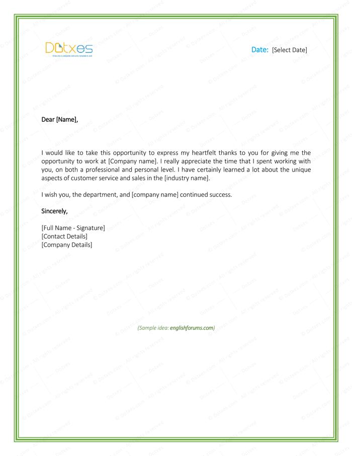 Thanks Letter to Boss for Giving Opportunity