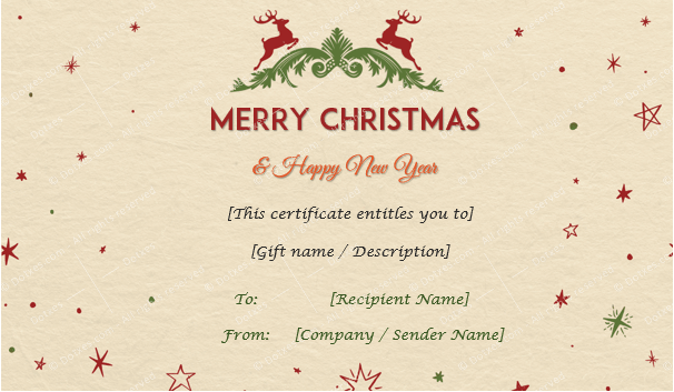 Christmas Gift Certificate (Camel Texture)