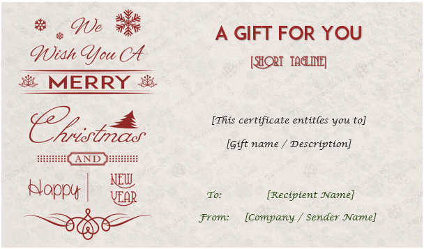 Christmas Holiday Gift Card Template