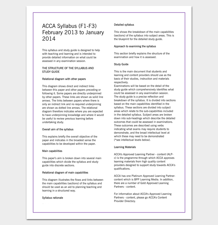 ACCA Course Outline Template