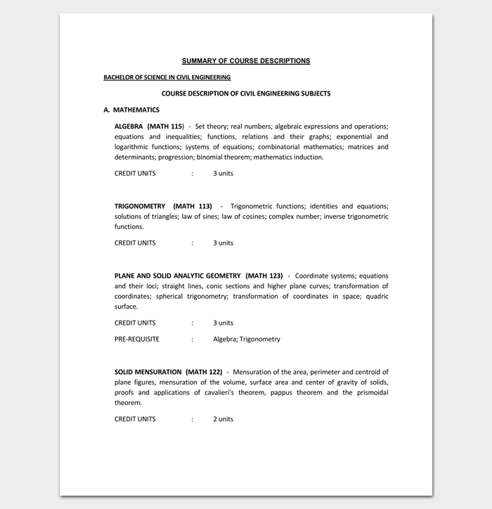 Civil Engineering Course Outline Template