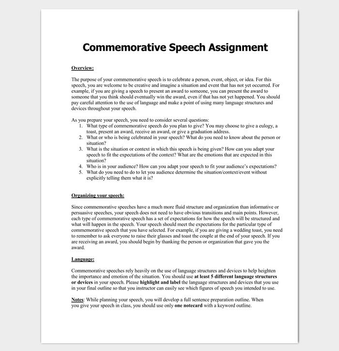 Commemorative Speech Outline Example