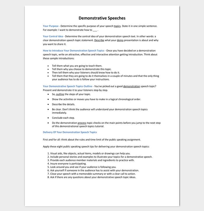 Demonstration Speech Outline Sample