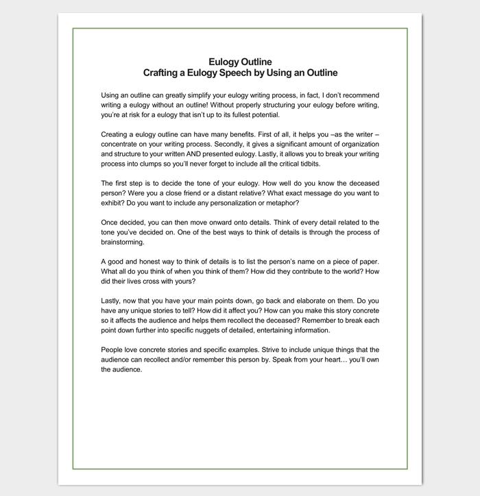 speech outline template