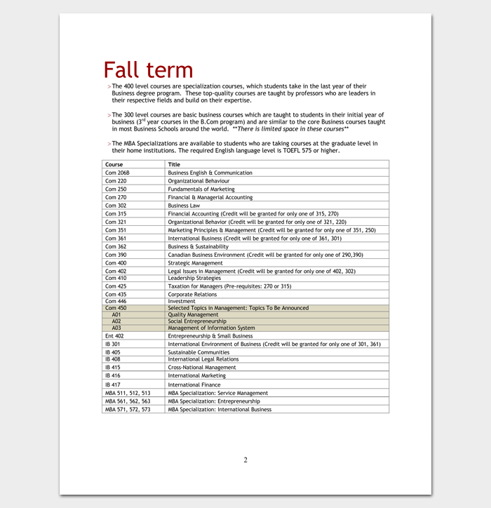 MBA Course Outline for PDF