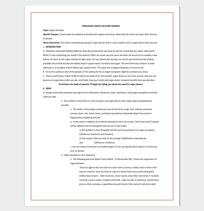 Persuasive Speech Outline Template for Word