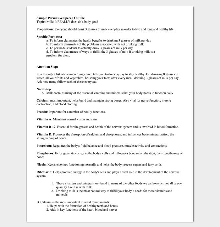 Persuasive Speech Outline for PDF
