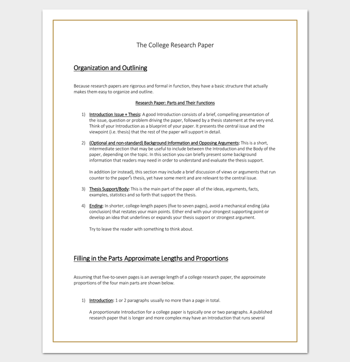 Research Paper Outline Template (College)
