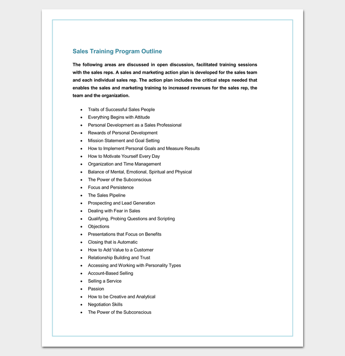 Sales Training Program Outline Template for Word