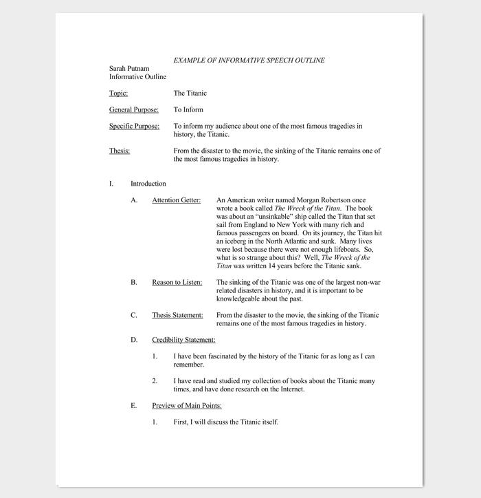 Sample Informative Speech Outline Template for PDF