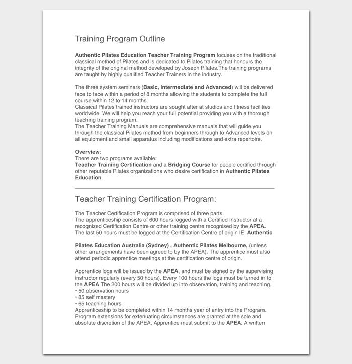 Sample Training Program Outline