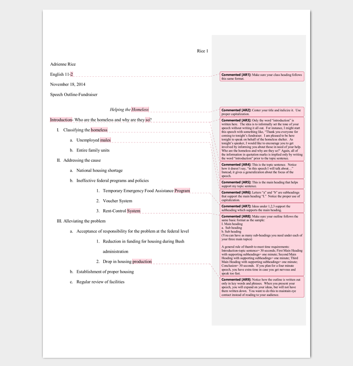 Special Occasion Speech Outline Template for Word