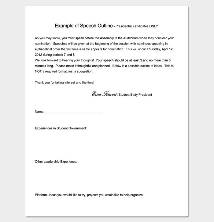 Speech Outline Sample Format