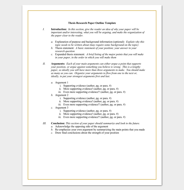 Thesis Research Paper Outline Template