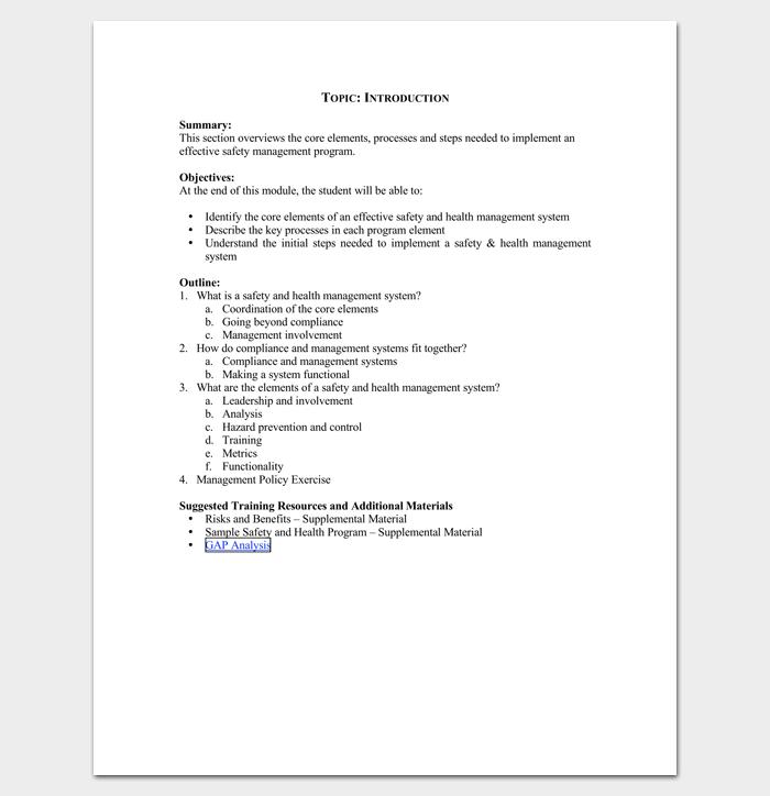 Training Program Outline Format