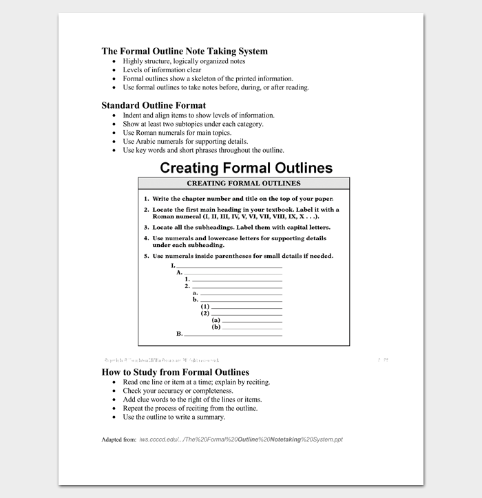 formal outline template - 10  formats and examples