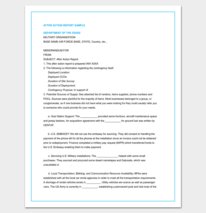 After Action Report Outline Sample