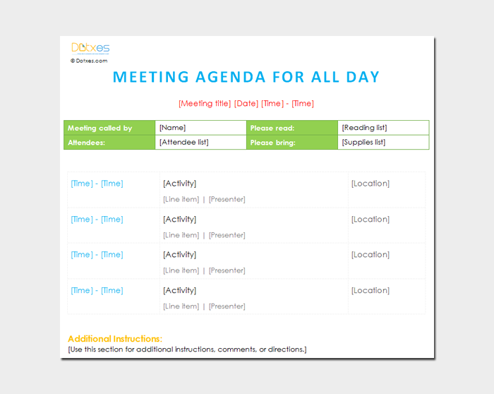 All Day Meeting Agenda Outline Template