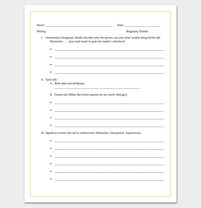 biography outline template