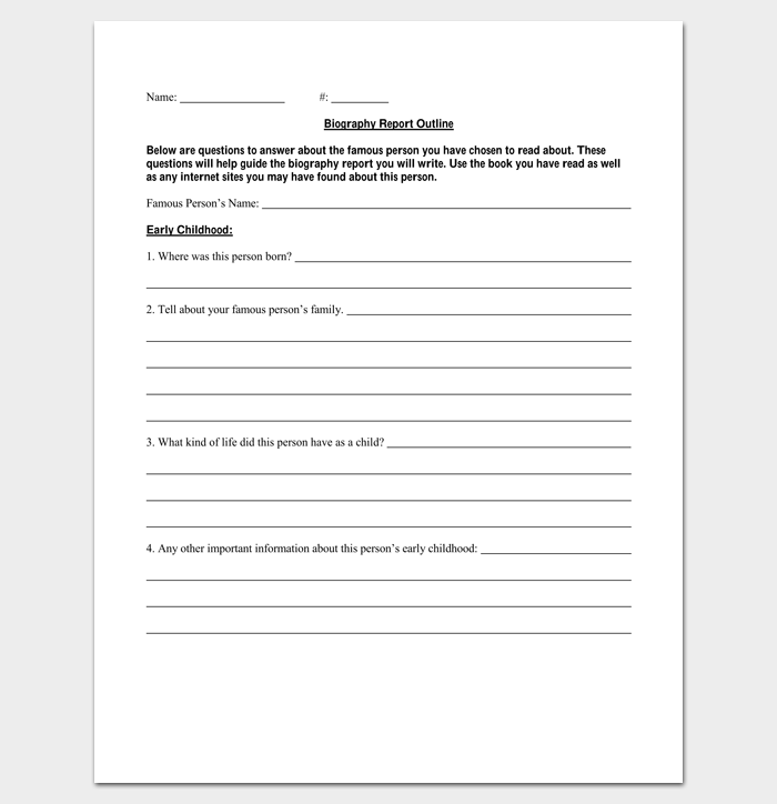 Biography Report Outline Template For PDF