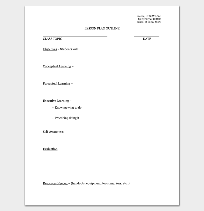 Blank Lesson Plan Outline Format