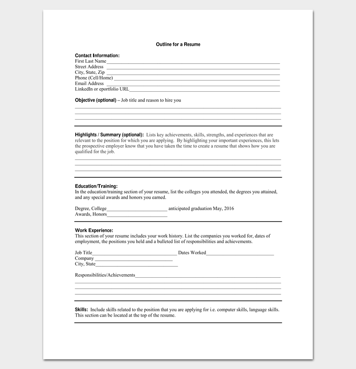 Resume And Form Template Ideas: 19+ For Word And PDF Format
