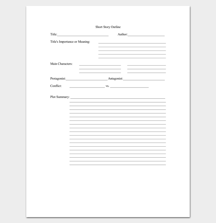 Short Story Outline Template - 7+ Worksheets for Word, PDF