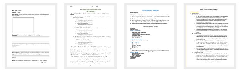 Chapter Outline Templates