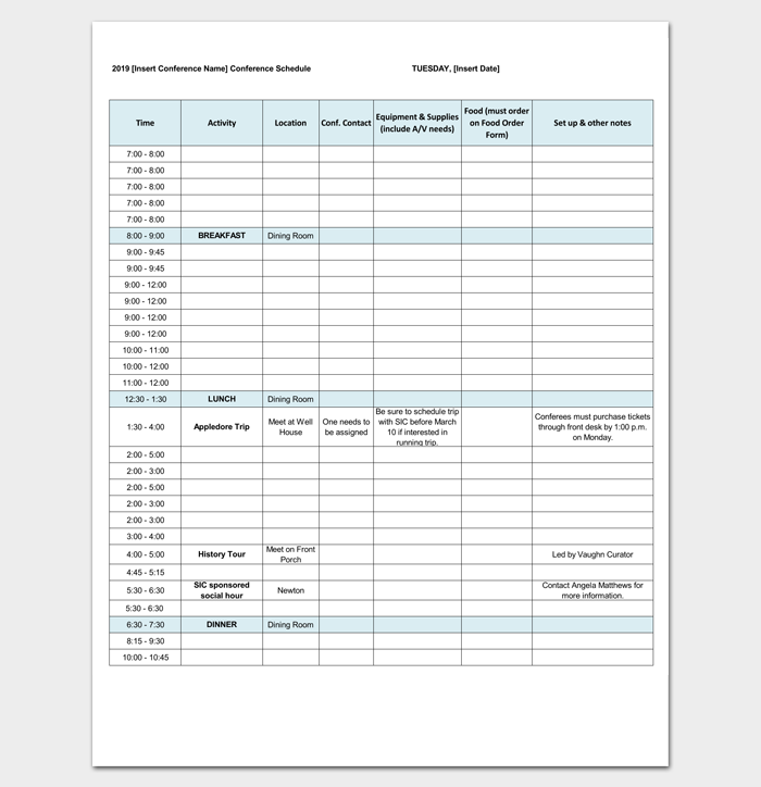 Conference Agenda Outline Excel Format