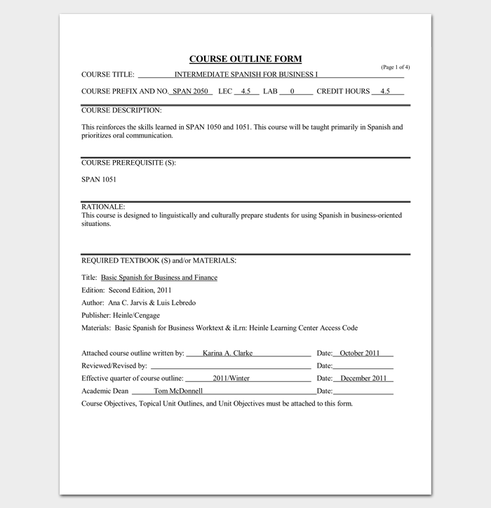 course outline template 10 samples for word amp pdf format